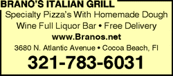 Branos Famous Specialty Pizza delivered to Cocoa Beach and Cape Canaveral